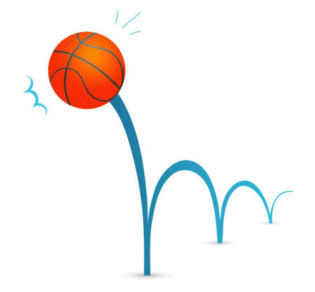 basketball game: Bouncing basketball ball cartoon illustration Illustration