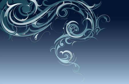 Curled swirls shaped as blue smoke Vector