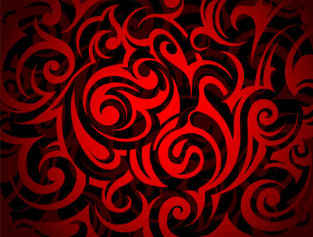 abstract swirls: Dark-toned artistic ornament with floral swirls Illustration