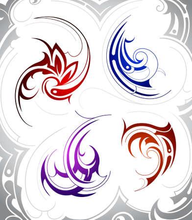 maories: Conjunto de cuatro formas de arte del tatuaje tribal