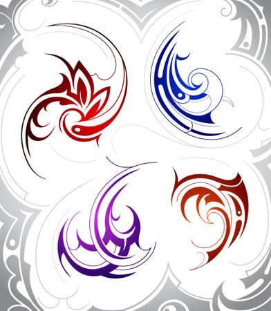 Set of four tribal art tattoo shapes Vector