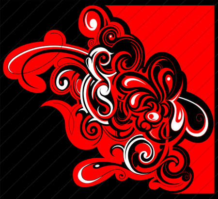 contradiction: Tribal art design in black and red contradiction