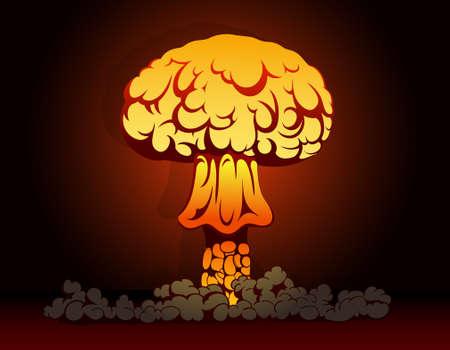 nuclear bomb: Ilustraci�n vectorial de explosi�n de una bomba nuclear