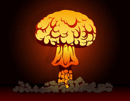 Vector illustration of nuclear bomb explosion Illustration