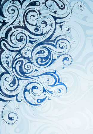 Liquid ornament shaped from swirls and curls Vector