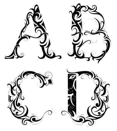 흰색에 고립 된 장식 문자 모양의 세트 일러스트