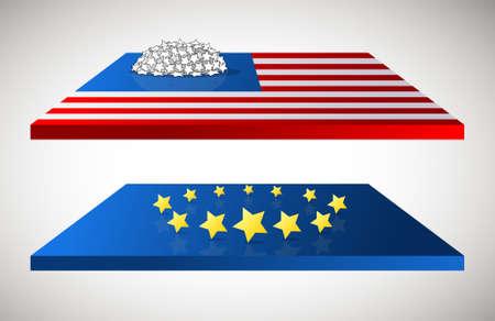 USA and EU flags with original stars rearangemet Illustration