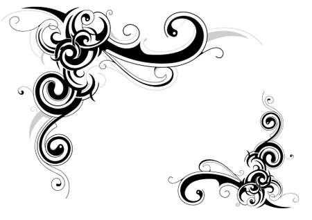tribali: Decorative design del telaio retr� con elementi floreali