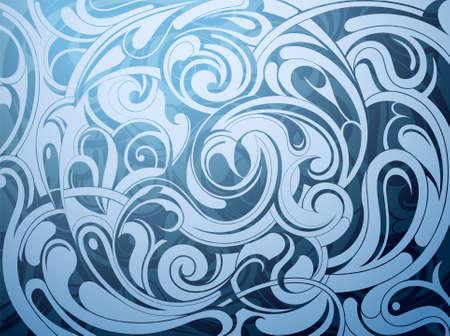水の波の抽象化と液体の飾り  イラスト・ベクター素材