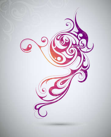 Creative design element shaped from floral swirls