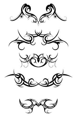 흰색에 고립 된 다양 부족 예술 문신의 설정