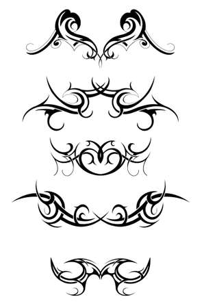 gothic design: Set of various tribal art tattoo isolated on white Illustration