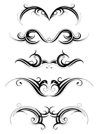 Állítsa be a különböző törzsi művészet tetoválás, elszigetelt, fehér Illusztráció