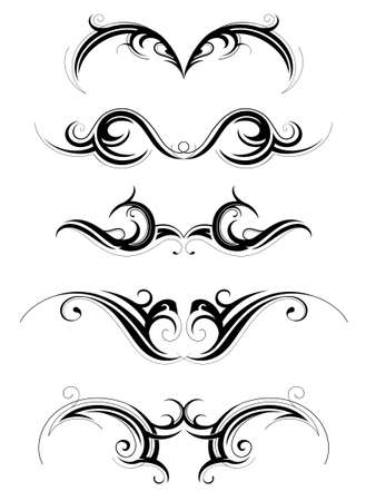 Set of various tribal art tattoo isolated on white Illustration