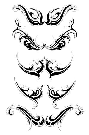 Set of various tribal art tattoo isolated on white Vector