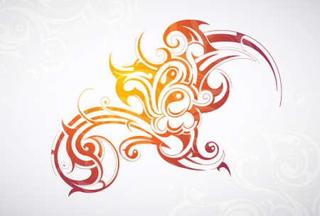 部族芸術の要素を持つ装飾的な抽象化  イラスト・ベクター素材