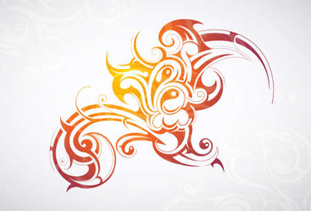 Decorative abstraction with tribal art elements Illustration