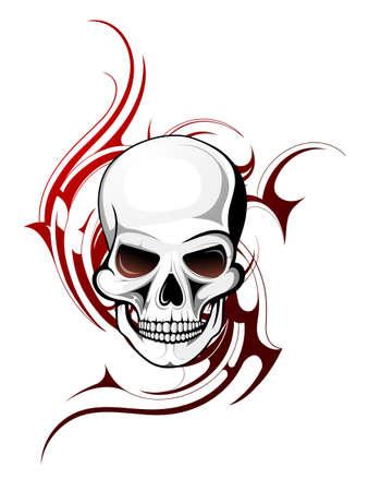 tribali: Forma del cranio con l'ornamento tatuaggio isolato su bianco Vettoriali