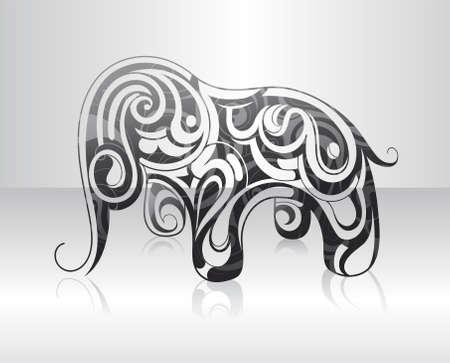 Dekoratív kavarog alakítják elefánt Illusztráció