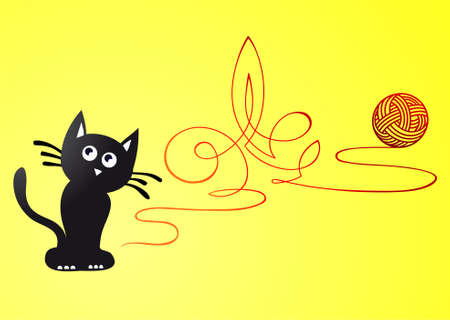 cats playing: Artistic cat creates ornaments out of ball of yarn Illustration