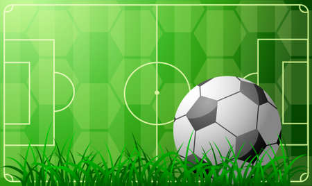 Decorative backdrop with soccer ball and field Vector