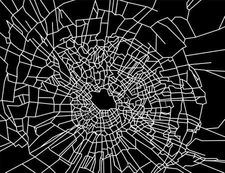 Pattern of broken window. White lines on black surface Stock Vector - 17184241