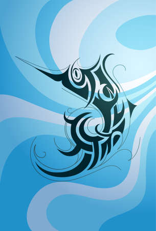 Decorative fish shape with underwater backdrop Vector