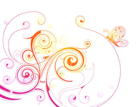 Artistic calligraphic swirls isolated on white