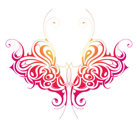 style: Decorative design element shaped as butterfly