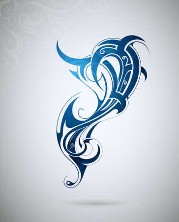 Decorative shape created in tribal art style Illustration