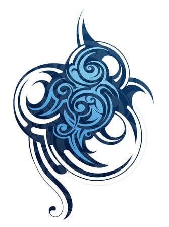 Decorative tribal art tattoo isolated on white Illustration