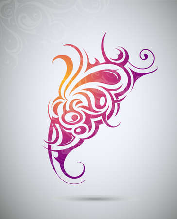 Decorative tattoo shape with floral elements Vector