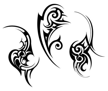 tribal design: Set of decorative tribal art tattoo isolated on white