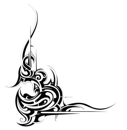 abstraction: Decorative tribal art tattoo isolated on white Illustration