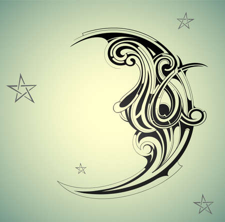 moon and stars: Old-fashion style moon with night sky Illustration