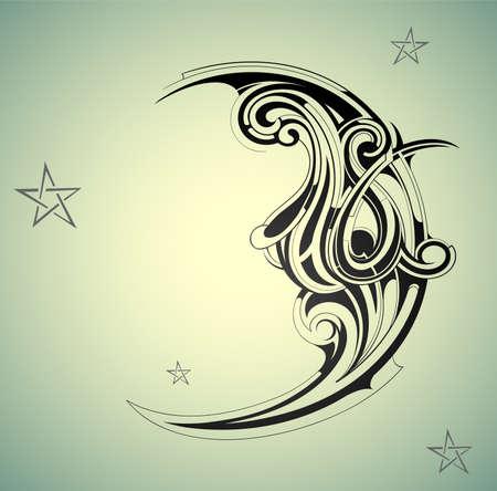 tribali: Stile old-fashion luna con cielo notturno