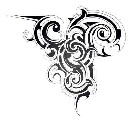 celtic tattoo: Decorative tribal art tattoo isolated on white Illustration