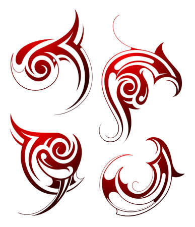 Set of decorative tribal art tattoo isolated on white Vector