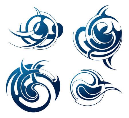 maories: Conjunto de tatuaje tribal arte decorativo aislado en blanco