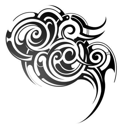 Dekoratív törzsi művészet tetoválás, elszigetelt, fehér