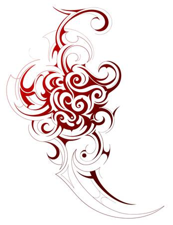 Decorative tribal art tattoo isolated on white Illustration
