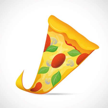 Illustration of tasty slice of pizzaa on grey backdrop Stock Vector - 18700565