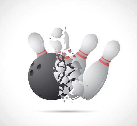 bowling: Illustration of bowling game on grey backdrop