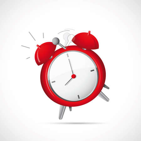 despertador: Ilustraci�n del reloj de alarma sobre fondo gris