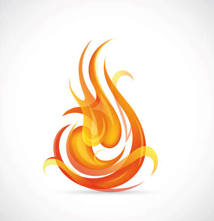 Illustration of fire flames on grey backdrop Stock Vector - 18847819