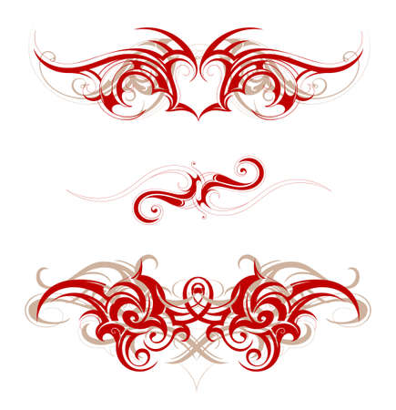 tribal tattoo: Set of graphic design elements in tribal art style