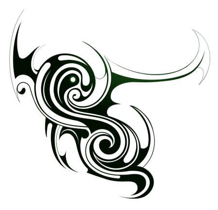 Decorative tribal art element isolated on white