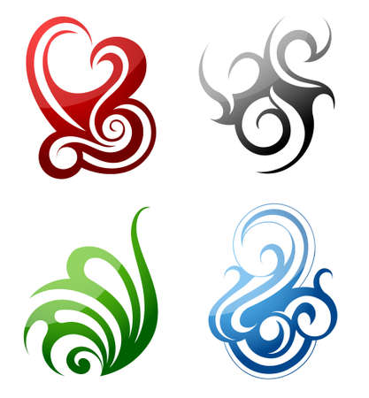 Set of graphic design elements in tribal art style