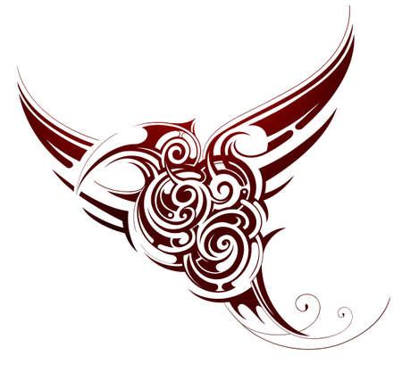 sketch: Flying bird tribal tattoo isolated on white Illustration