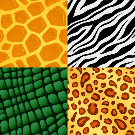 leopard gecko: Set of four seamless wildlife animal skin pattern